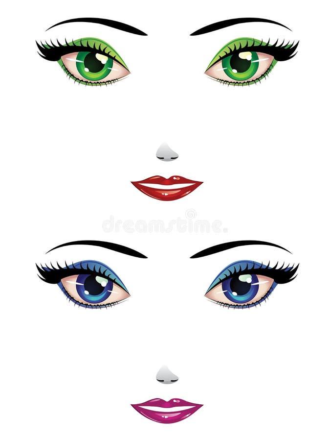 Vrouwelijke gezichten royalty-vrije illustratie