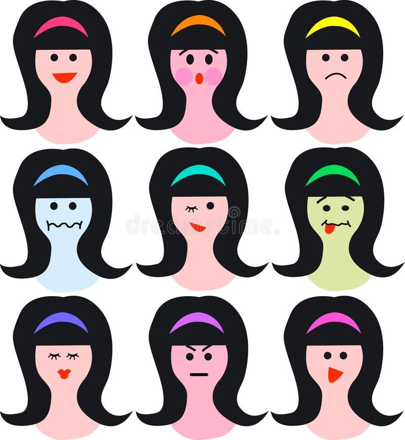 Vrouwelijke gezichten/emoties/eps royalty-vrije illustratie