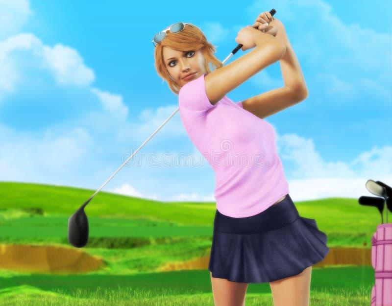 Vrouwelijke golfspeler die weg teeing stock foto's
