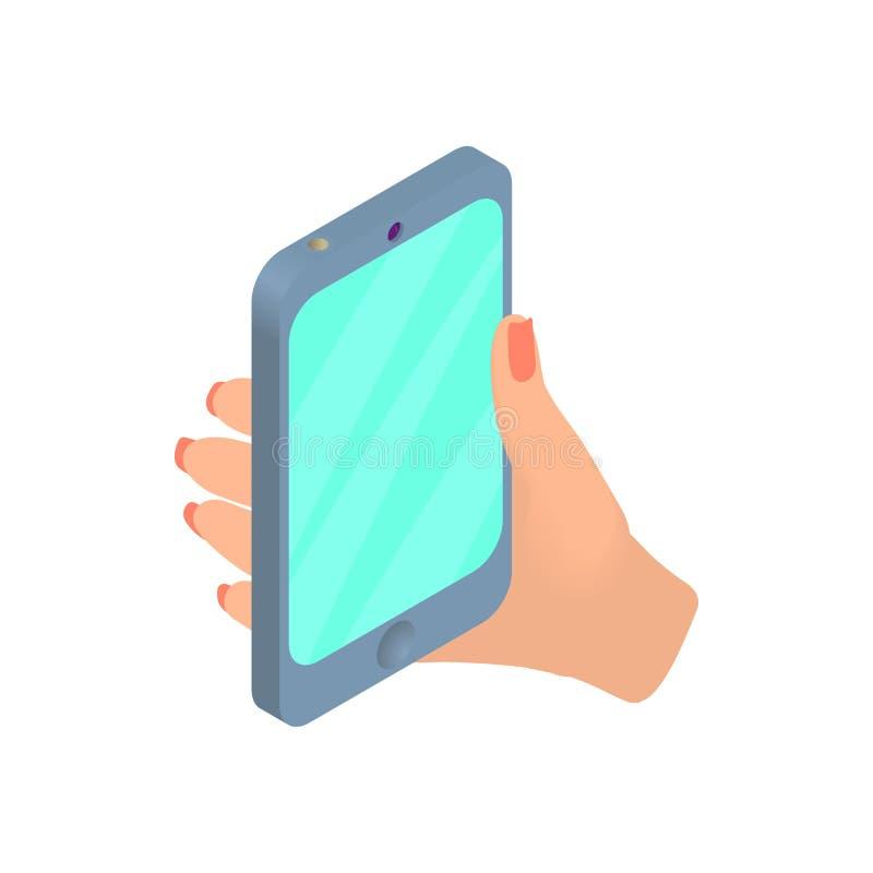 Vrouwelijke hand die cellulair telefoonpictogram houden vector illustratie