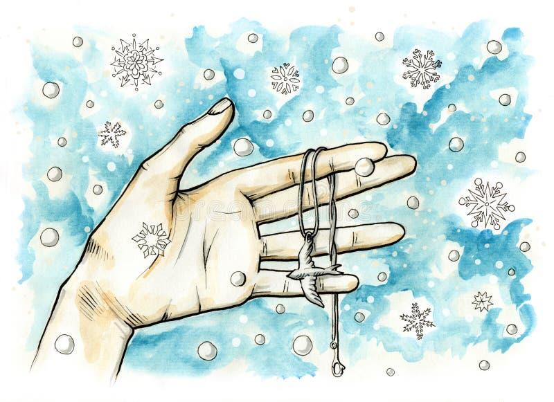 Vrouwelijke hand die een halsband met een vogeltegenhanger houden op het De achtergrond van sneeuwvlokken vector illustratie