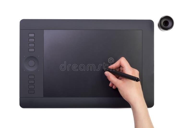 Download Vrouwelijke Hand Die Grafische Tablet Gebruiken Creativiteit Stock Illustratie - Illustratie bestaande uit tekening, apparatuur: 39113130