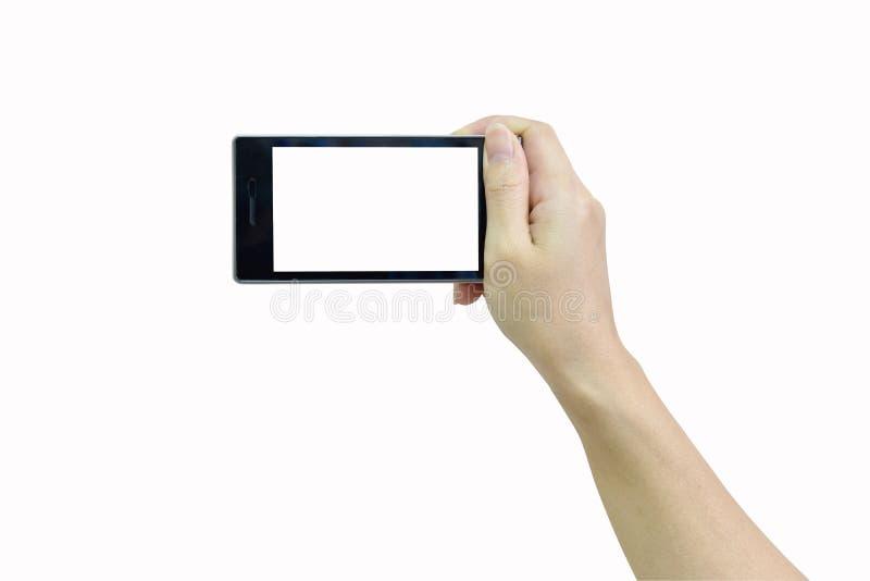 Vrouwelijke hand die moderne slimme telefoon met het witte scherm op whit houden royalty-vrije stock afbeeldingen