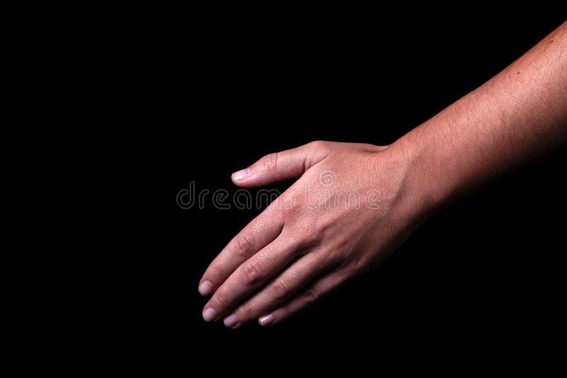 Vrouwelijke of hand die neer bereiken richten royalty-vrije stock afbeeldingen