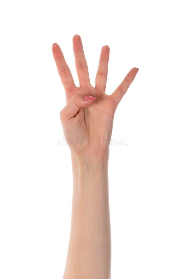 Vrouwelijke hand die vier die vingers tonen op wit worden geïsoleerd royalty-vrije stock fotografie