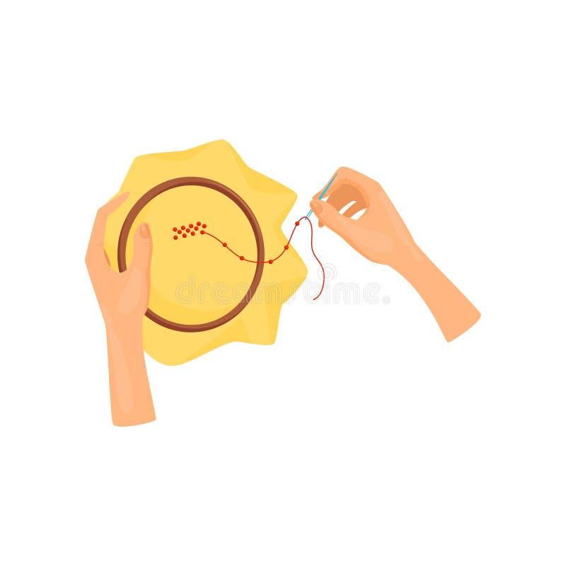 Vrouwelijke handen die beadwork houten hoepel en naald met behulp van Kunsten en ambacht Hobby en vrije tijdsthema Vlak vectoront vector illustratie