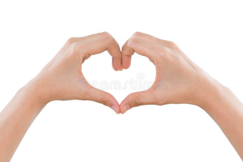 Vrouwelijke handen die een hartvorm maken die op wit wordt geïsoleerd stock afbeeldingen