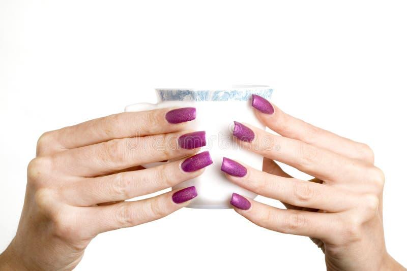 Vrouwelijke handen met lange spijkers met manicuregreep stock afbeelding