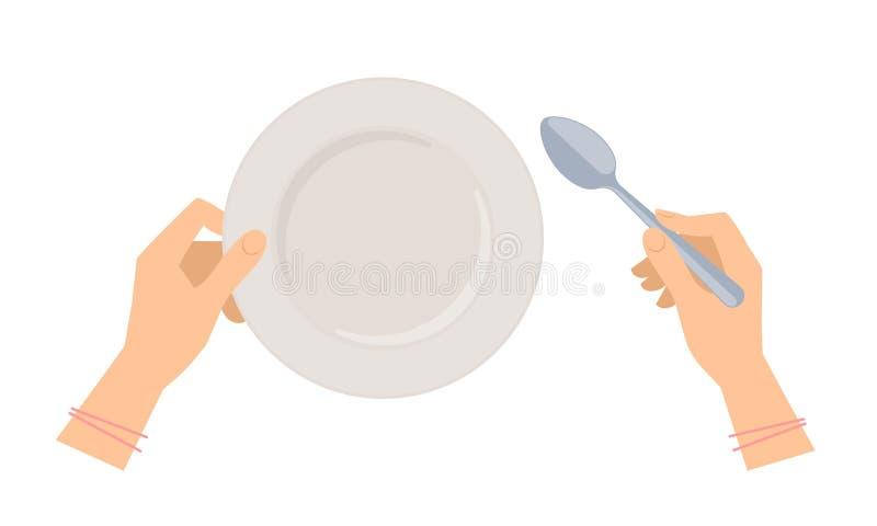 Vrouwelijke handen met soeplepel en lege plaat vector illustratie