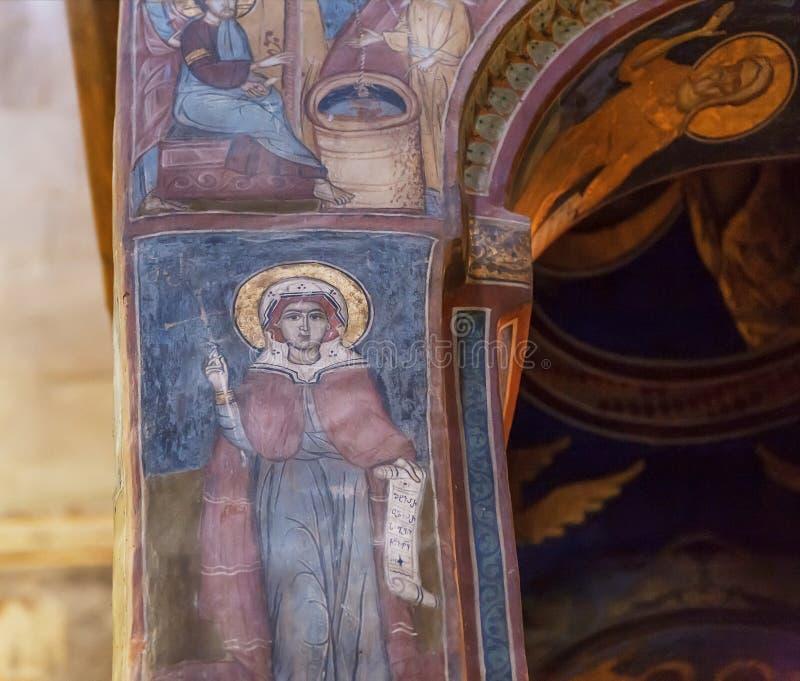 Vrouwelijke heilige op oude fresko van Svetitskhoveli-Kathedraal De Georgische Unesco-Plaats van de Werelderfenis stock afbeeldingen