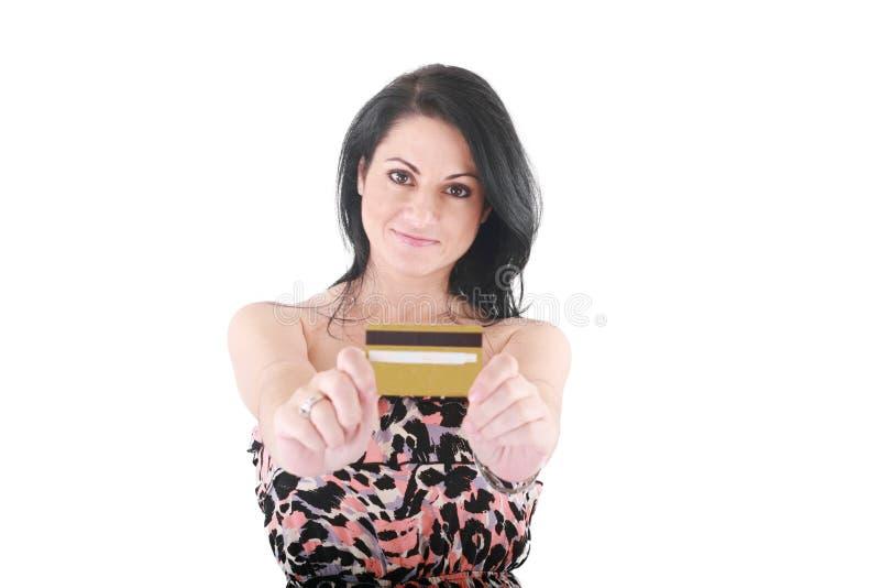 Vrouwelijke holdingscreditcard stock foto's