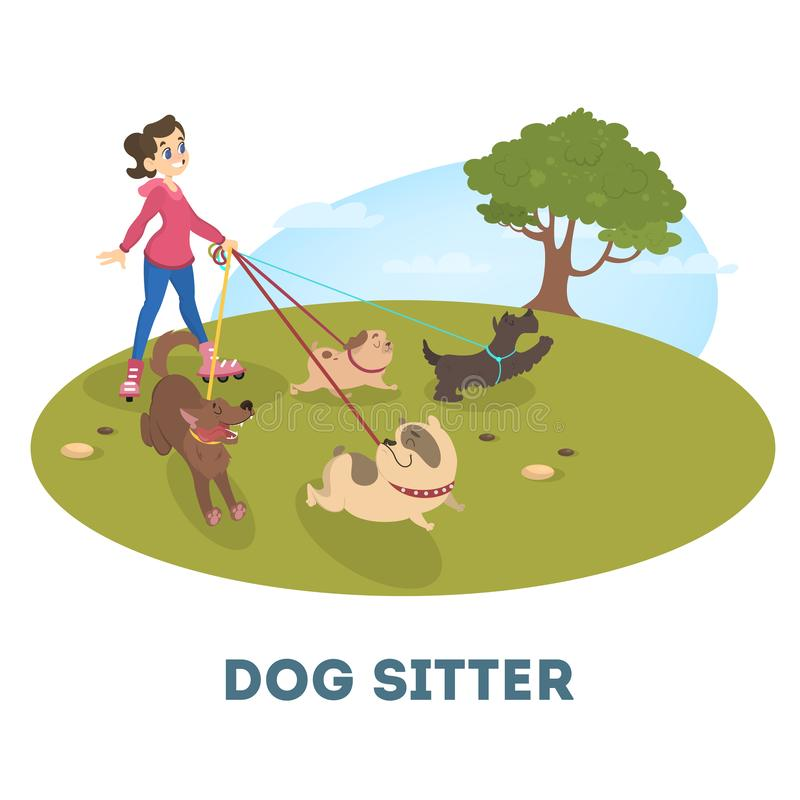 Vrouwelijke hondbabysitter die met leuke huisdieren lopen stock illustratie