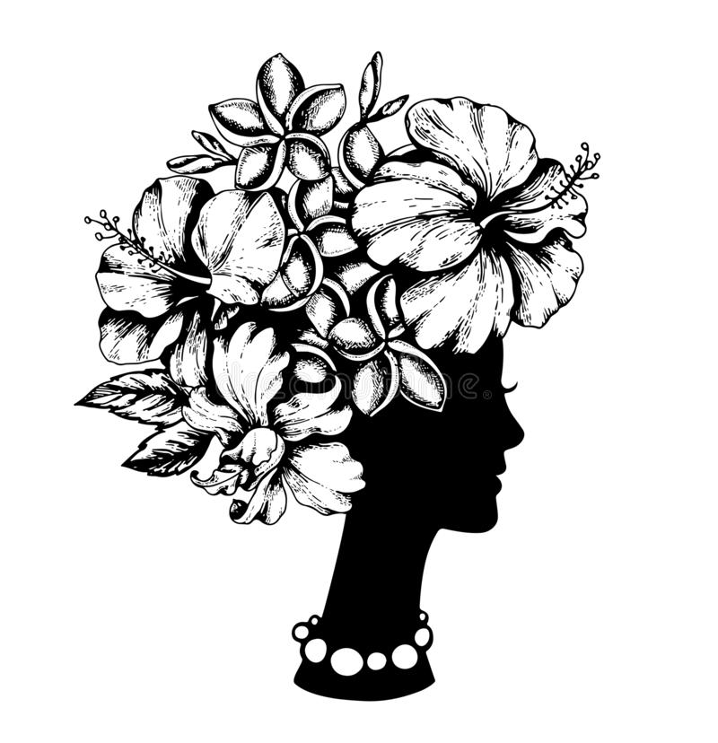 Vrouwelijke hoofd en tropische bloemen stock illustratie