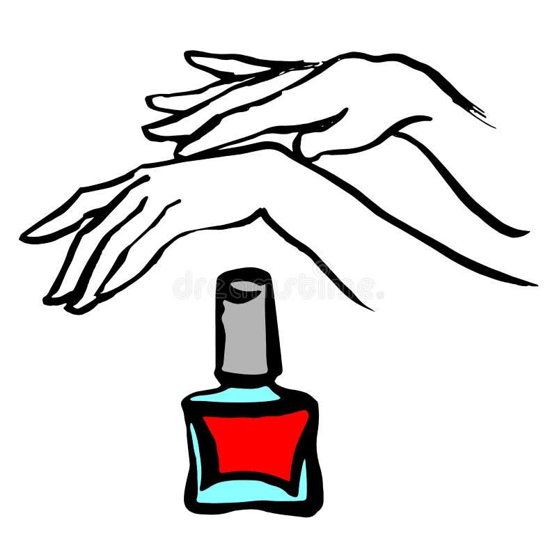 Vrouwelijke jonge handen met een roze nagellakfles Vector vector illustratie