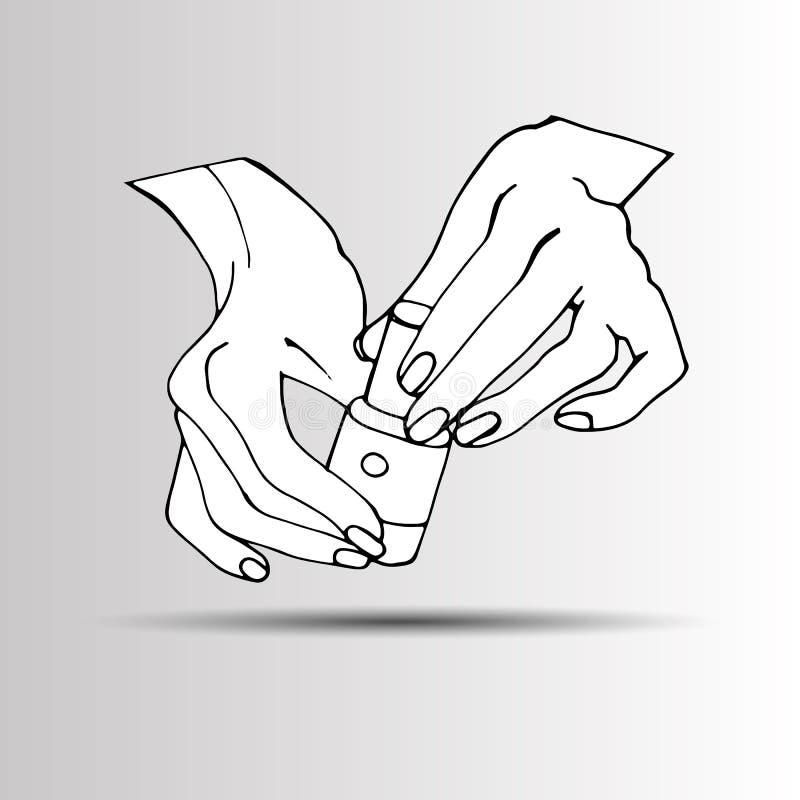 Vrouwelijke jonge handen met een roze nagellakfles Vector stock illustratie