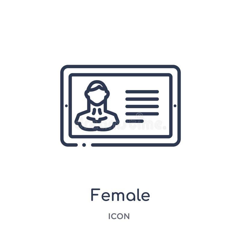 vrouwelijke journalist op tabletpictogram van de inzameling van het mensenoverzicht Dunne lijn vrouwelijke die journalist op tabl vector illustratie