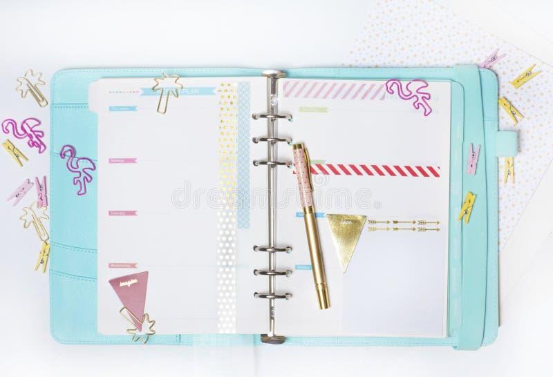 Vrouwelijke kantoorbehoeften: de kleurrijke document palm en flamin van bindmiddelenklemmen stock afbeelding