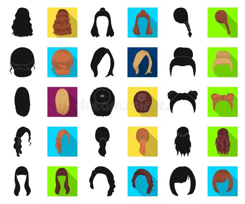 Vrouwelijke kapsel zwarte, vlakke pictogrammen in vastgestelde inzameling voor ontwerp Illustratie van het de voorraadweb van het stock illustratie