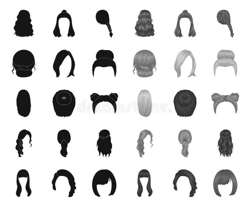 Vrouwelijke kapselzwarte monopictogrammen in vastgestelde inzameling voor ontwerp Illustratie van het de voorraadweb van het modi stock illustratie