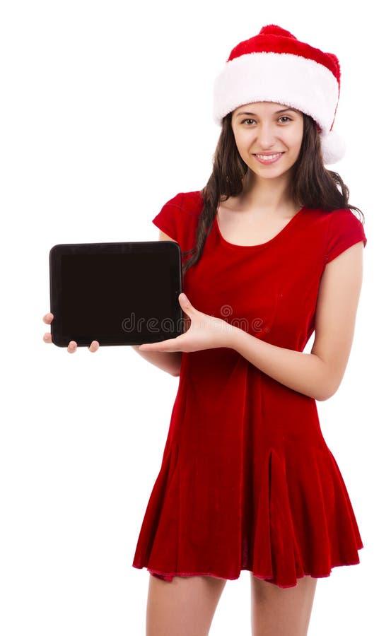 Vrouwelijke Kerstman die tablet houden stock fotografie