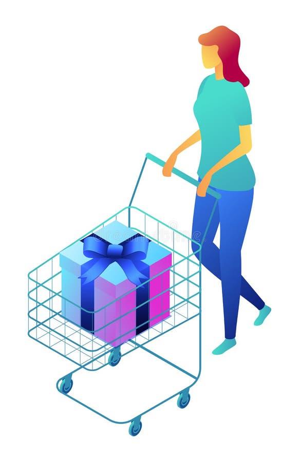 Vrouwelijke klant met giftdoos in boodschappenwagentje isometrische 3D illustratie stock illustratie