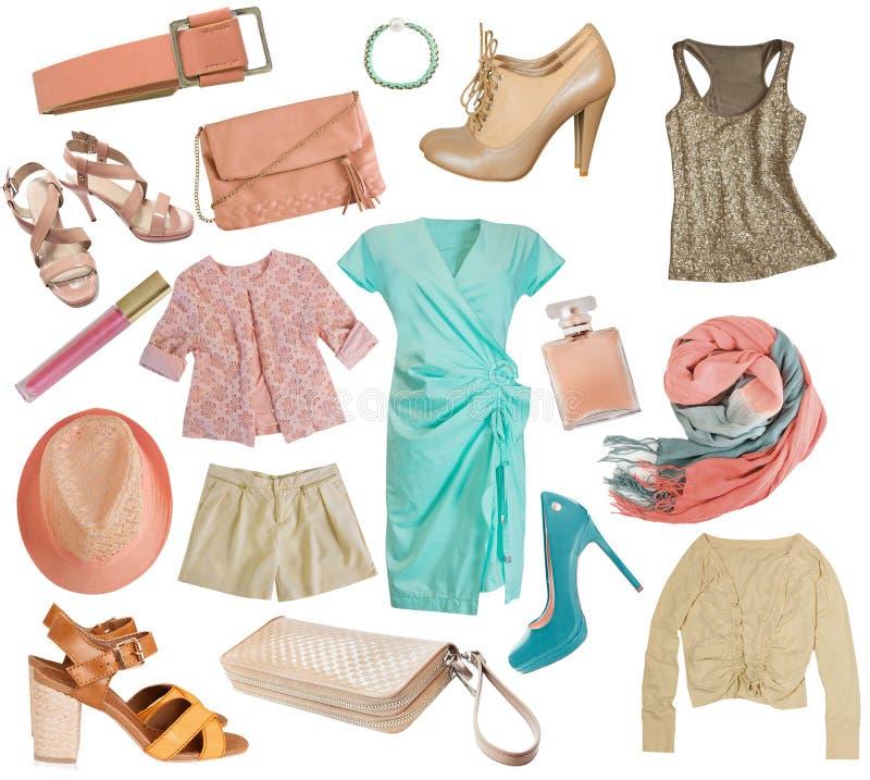 Vrouwelijke klerencollage De reeks van de vrouwenkleding Geïsoleerde royalty-vrije stock afbeelding