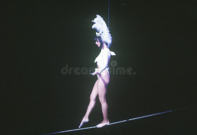 Vrouwelijke Koorddanser, Ringling-Broers & Barnum & Bailey Circus stock fotografie
