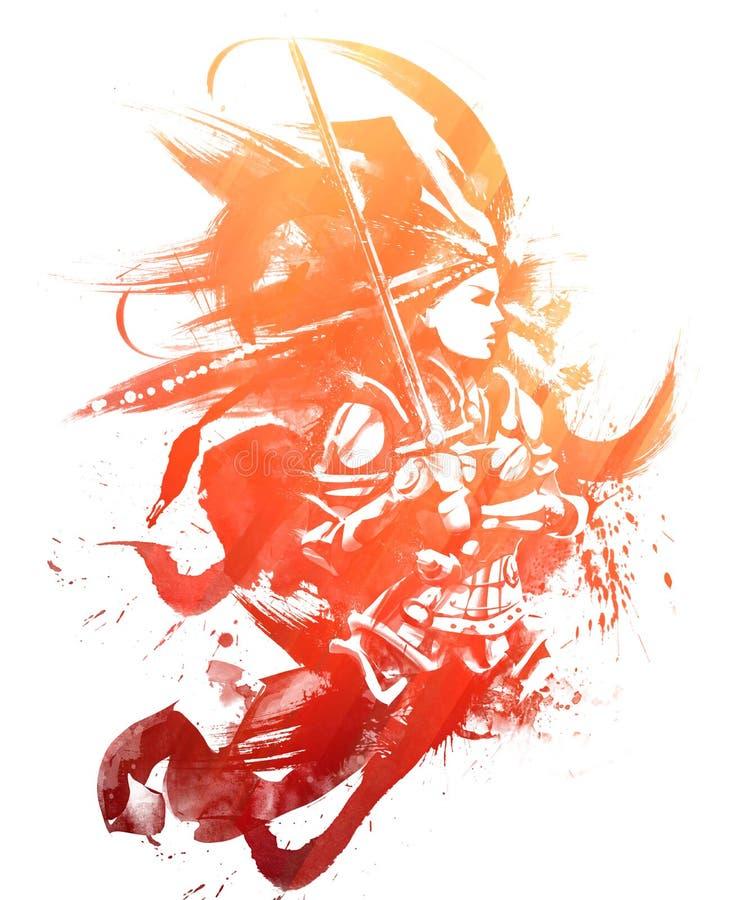 Vrouwelijke Kruisvaarder met zwaard royalty-vrije illustratie