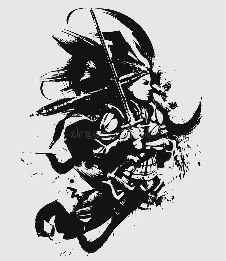 Vrouwelijke Kruisvaarder met zwaard vector illustratie
