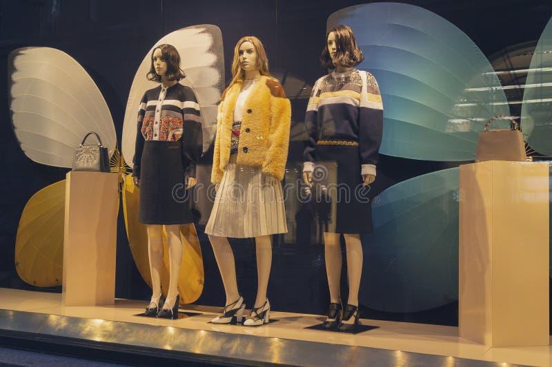 Vrouwelijke ledenpop in een winkelvenster stock fotografie