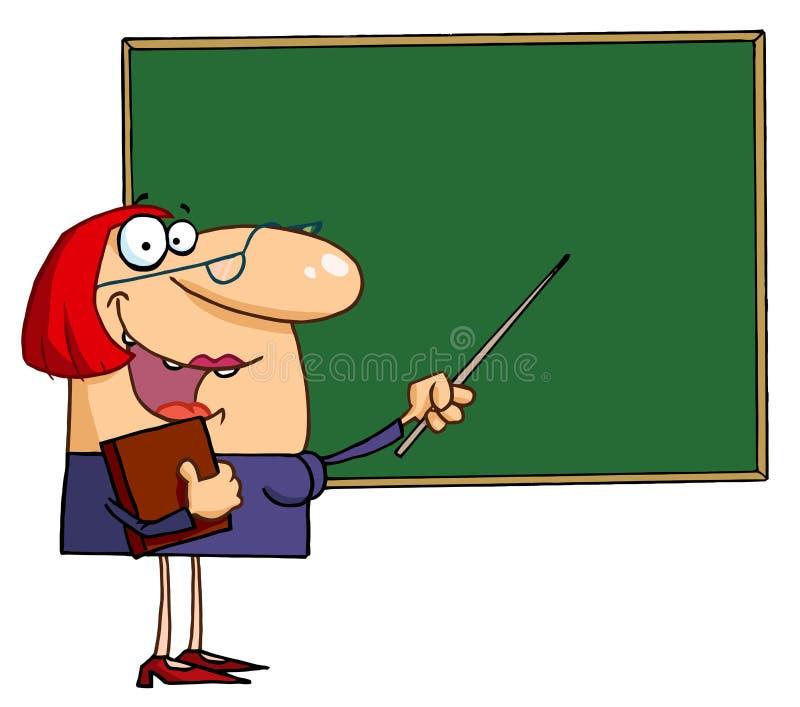 Vrouwelijke leraar die aan een bord richt royalty-vrije illustratie