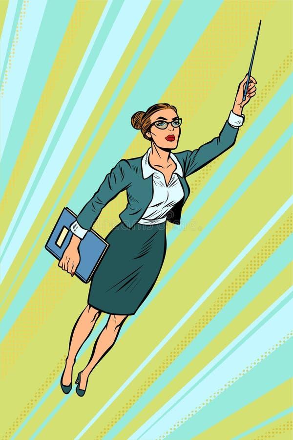 Vrouwelijke leraar, superhero het vliegen stock illustratie