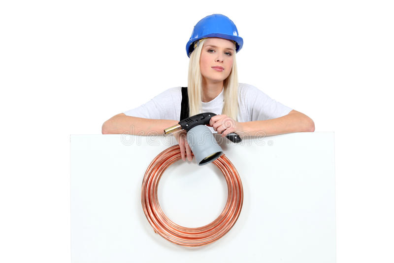 Vrouwelijke loodgieter stock afbeelding