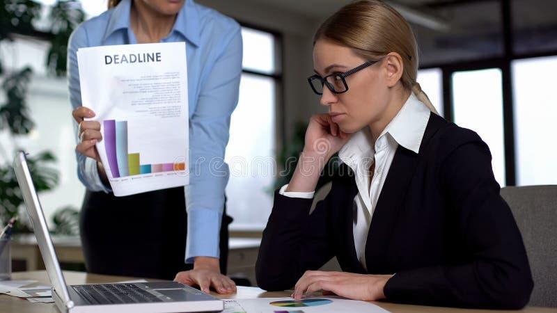 Vrouwelijke manager zwerende werknemer voor gemiste uiterste termijn, laag inkomen en het slechte werk royalty-vrije stock afbeeldingen
