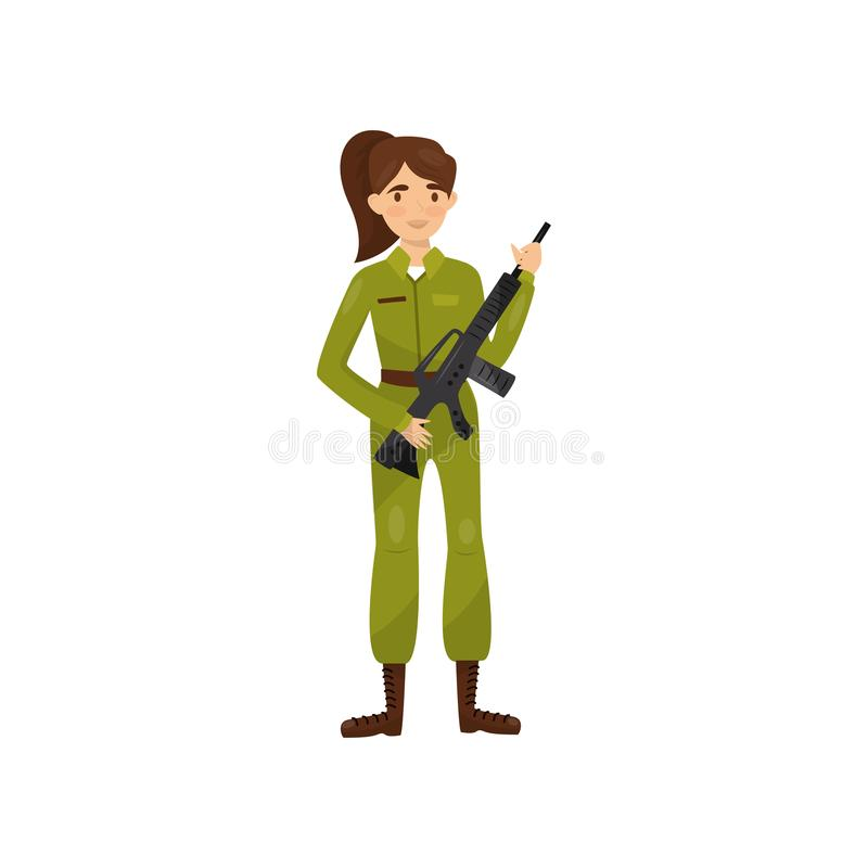 Vrouwelijke militair in groene camouflage eenvormige vectorillustratie op een witte achtergrond stock illustratie