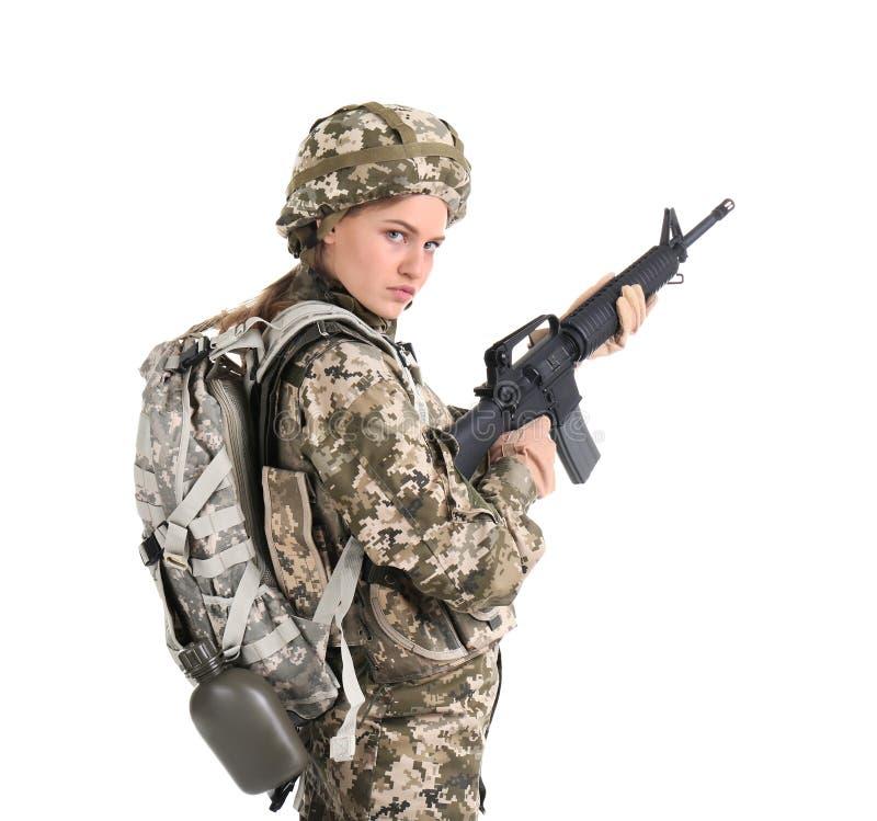 Vrouwelijke militair met machinegeweer stock afbeeldingen