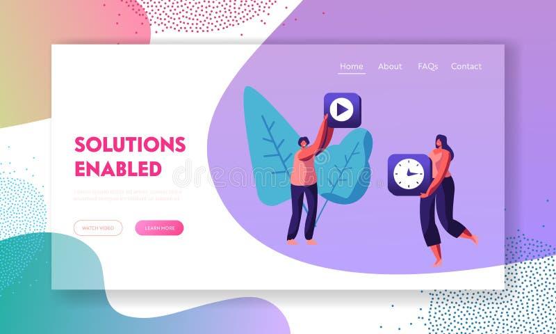 Vrouwelijke Mobiele de Toepassingspictogrammen van de Karaktersholding van Videoopname en Horloge in Handen App Inhoudsontwikkeli vector illustratie