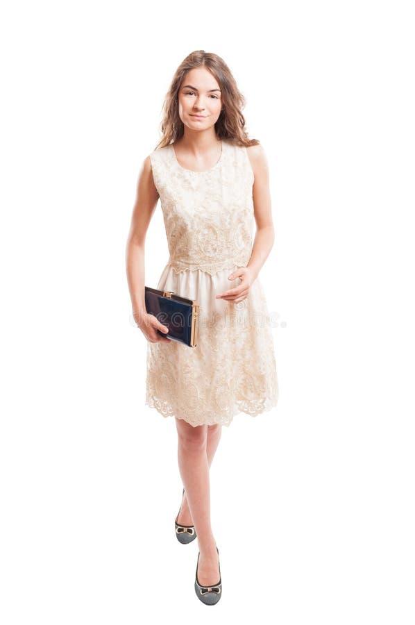 Vrouwelijke model dragende kantkleding stock fotografie