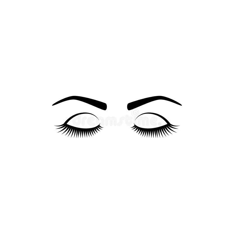 Vrouwelijke mooie gesloten ogen met lange wimpers en wenkbrauwen stock illustratie