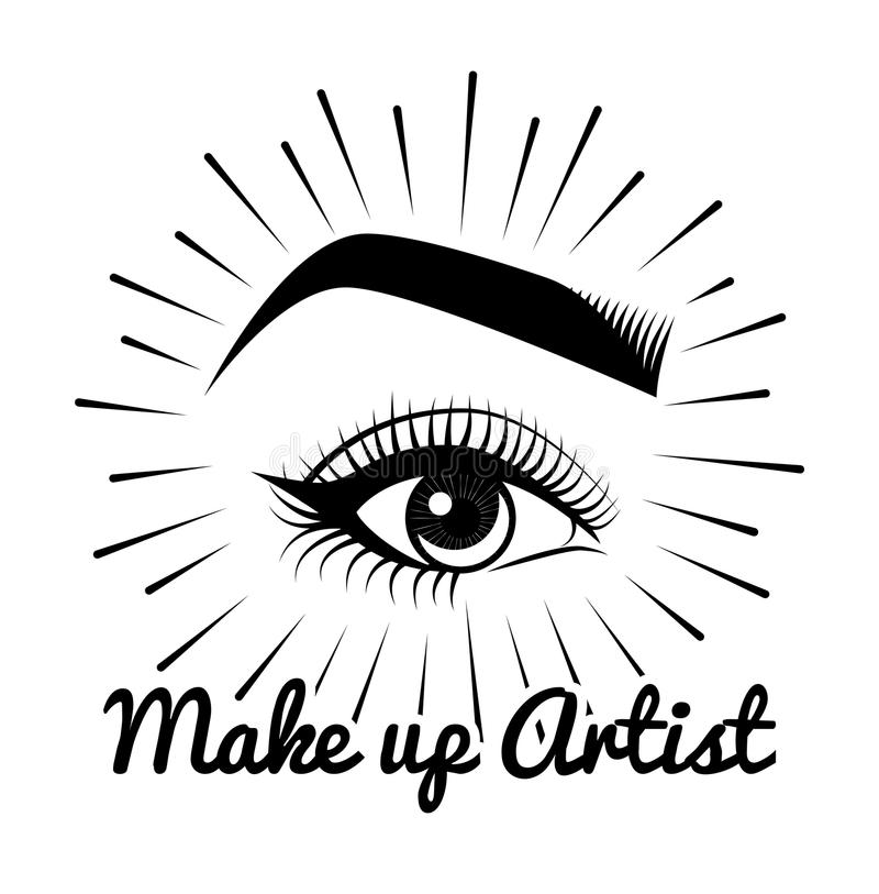 Vrouwelijke ogen Het Etiket van de schoonheidssalon Mascara - het Oog maakt omhoog De Make-up van het oog kenteken Vector illustr vector illustratie