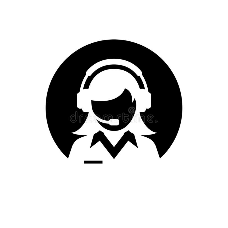 Vrouwelijke ondersteunende dienst/het silhouetpictogram van de klantenzorg/van de klantenservice/van de beheerder Cirkel negatief vector illustratie