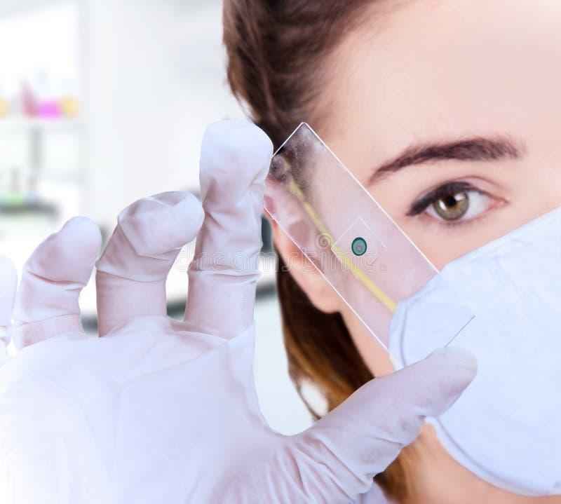 Vrouwelijke onderzoeker in laboratorium stock fotografie