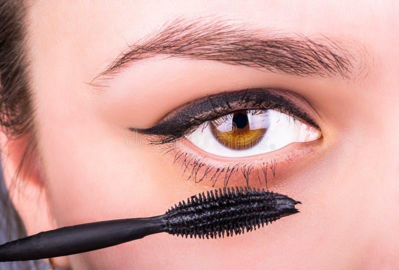 Vrouwelijke oog en mascara stock afbeelding
