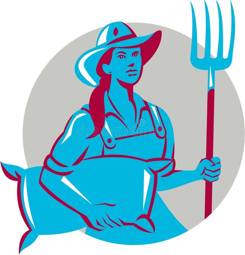 Vrouwelijke Organische Landbouwer Retro Sack Pitchfork Circle stock illustratie
