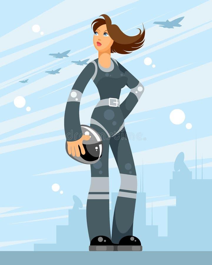Vrouwelijke proef op vliegtuigenachtergrond royalty-vrije illustratie