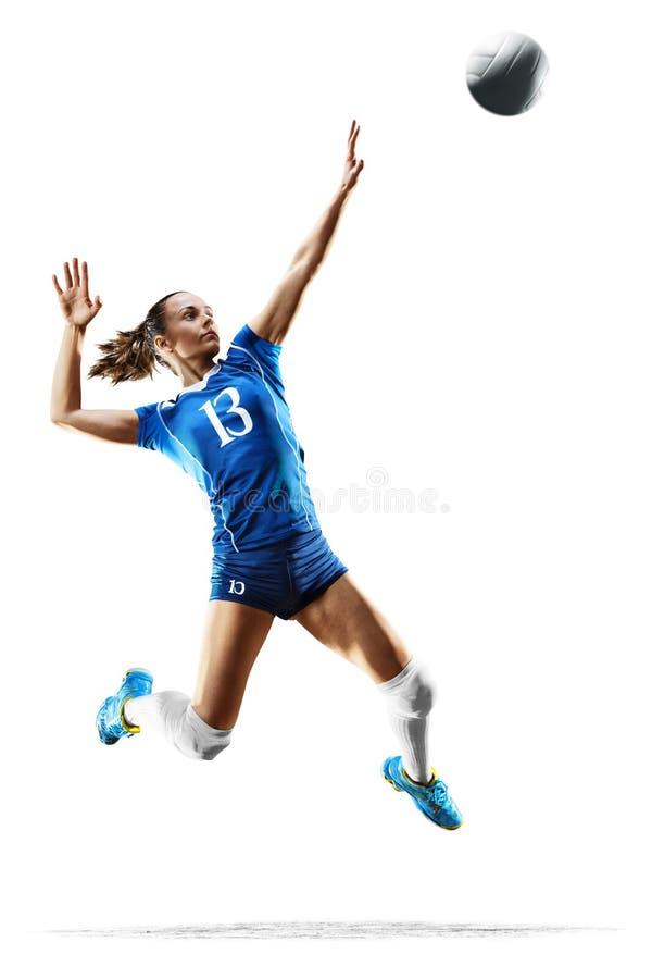 Vrouwelijke professionele volleyballspeler op wit stock afbeeldingen