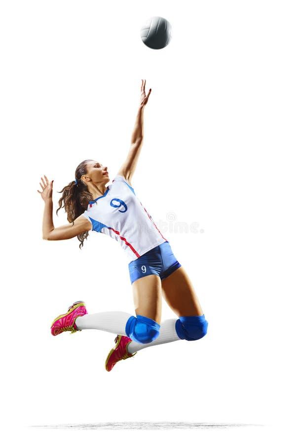 Vrouwelijke professionele volleyballspeler op wit royalty-vrije stock afbeelding