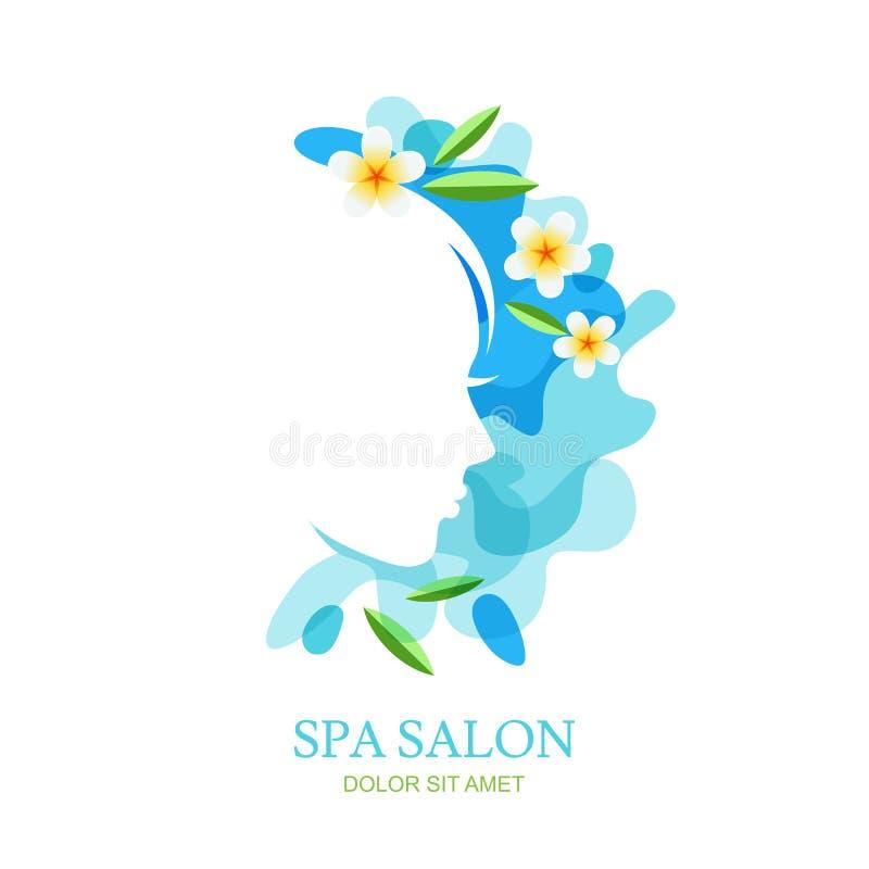 Vrouwelijke profiel en plumeriabloemen op de achtergrond van de waterplons stock illustratie