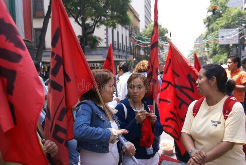 Vrouwelijke protesteerders met rode vlaggen royalty-vrije stock fotografie