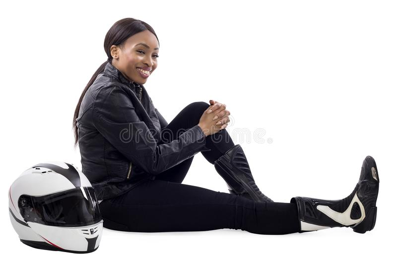Vrouwelijke Raceautobestuurder of Stuntvrouw stock fotografie